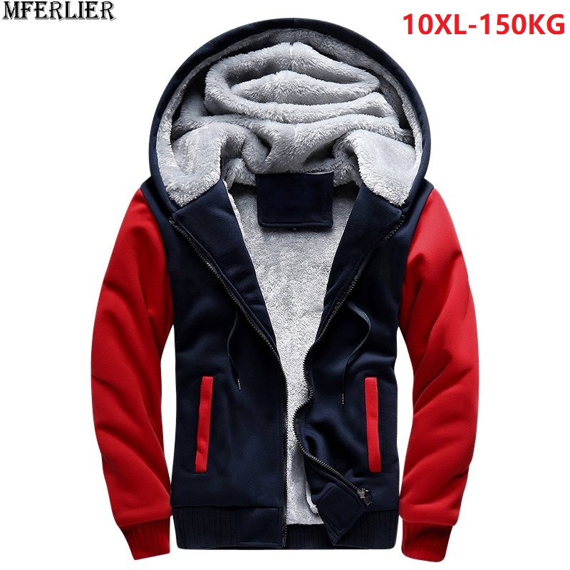 Plus Large Size Big Men Sweatshirts 8XL Warm Fleece Thick Hooded Hoodies Winter Hipster SportWear Patchwork 9XL 10XL Zipper Coat