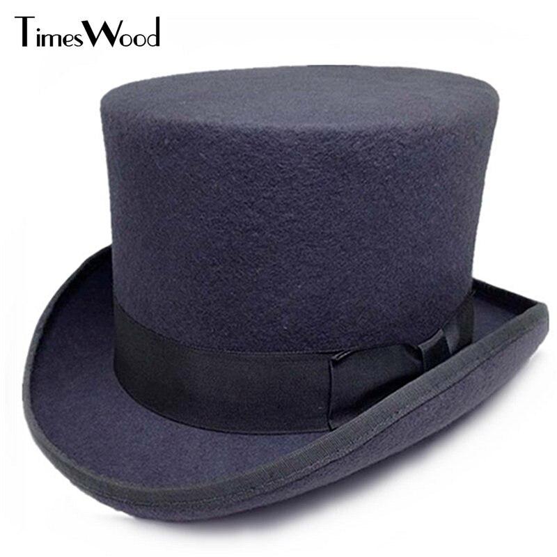 13 5cm Height Black Red Gray Wool High Top Hat Men Women Chapeau Fedora Jazz Magician