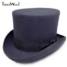13.5cm Height Black Red Gray Wool High Top Hat Men Women Chapeau Fedora Jazz Mag