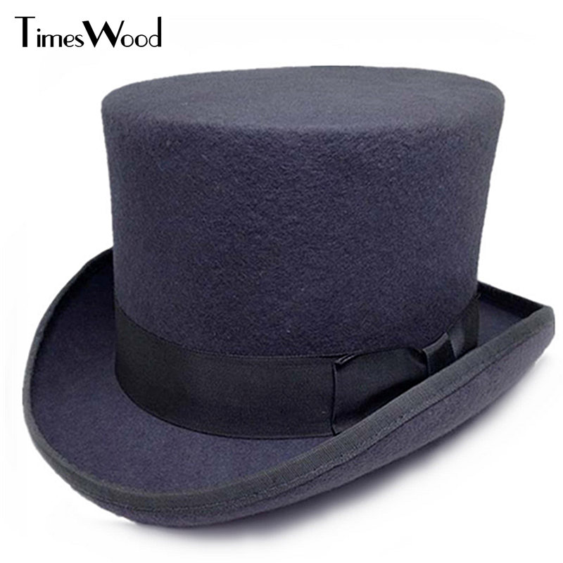 13 5cm Height Black Red Gray Wool Top Hat Men Women Chapeau Fedora Magician Felt Vintage