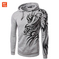 Hombre 2016 New Brand Mens Stylish Hooded Hoodies Novelty Tattoo Dragon Printed Pullover Sweatshirts Fleece Casual Jacket Coat