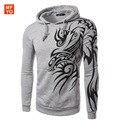 Hombre 2016 Nova Marca Mens Elegante Com Capuz Hoodies Novidade Tatuagem Do Dragão Impresso Pullover Camisolas de Lã Ocasional do Revestimento do Revestimento