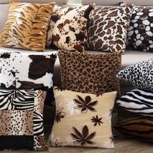 Декоративные подушки покрытия 43x43 см для ухода за ребенком для мам диванные подушки леопардовой черно-белой расцветке Тигр Жираф бархатные тканевые органайзеры домашний стул-наволочка B46