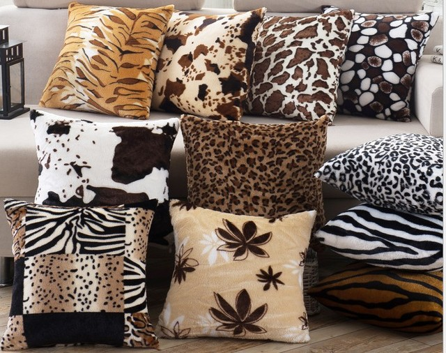 Marvelous Decorative Cushions Cover 43x43cm Throw Pillows Leopard Zebra Tiger Giraffe  Velvet Fabric Seat Home Chair