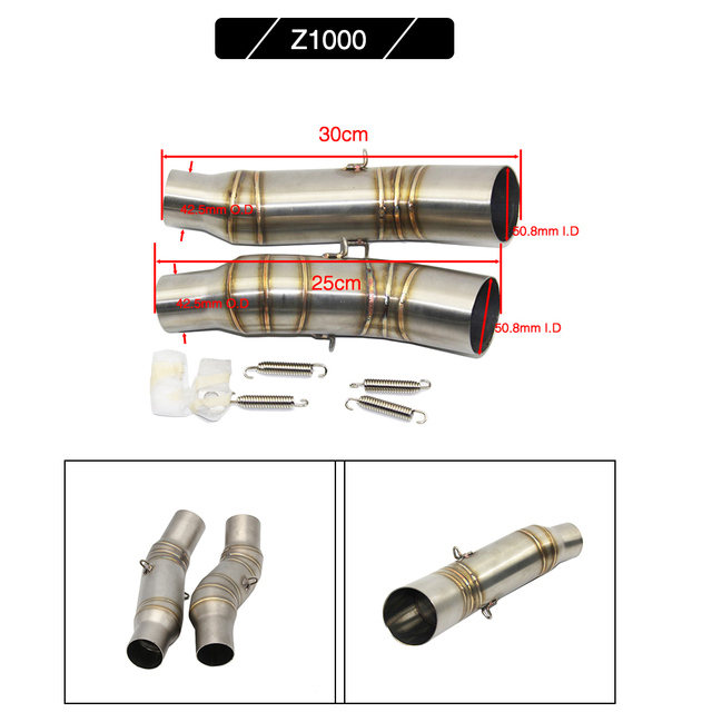 Sclmotos -Motorcycle Exhaust Muffler Middle Pipe Connector Adapter Fit for Kawasaki Z750 Z800 Z1000 ZX6R ZX10R without Exhaust