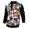 2016 spring hot selling  fashion casual  printing Love pattern coat  patchwork Rib sleeve  long sleeve O-neck mens  jacke  PH06