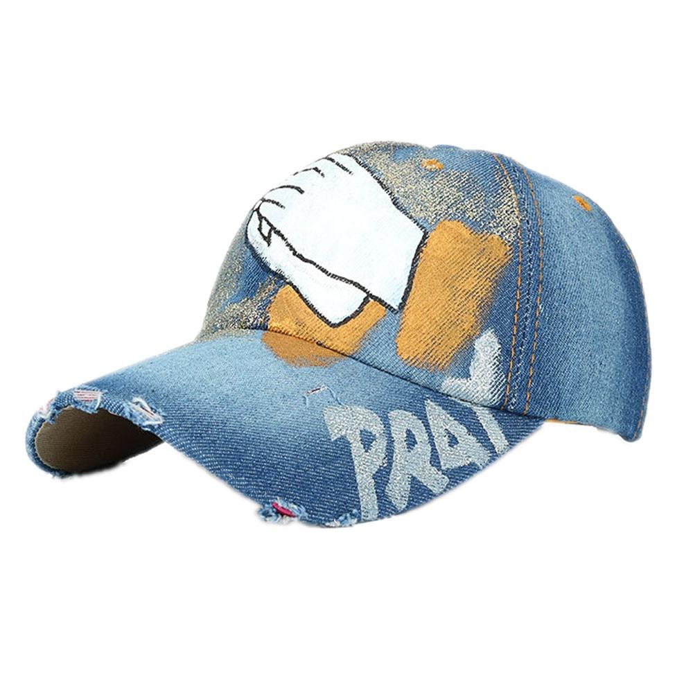 Для женщин и мужчин ручная роспись джинсовая бейсбольная кепка со стразами Snapback хип хоп плоские кепки бейсбол - Цвет: A