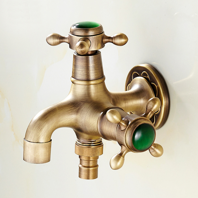 Exceptionnel Luxury Antique Brass U0026 Jade Garden Faucet Washing Machine Faucet Copper  Bibcocks Faucet ,Toilet Tap