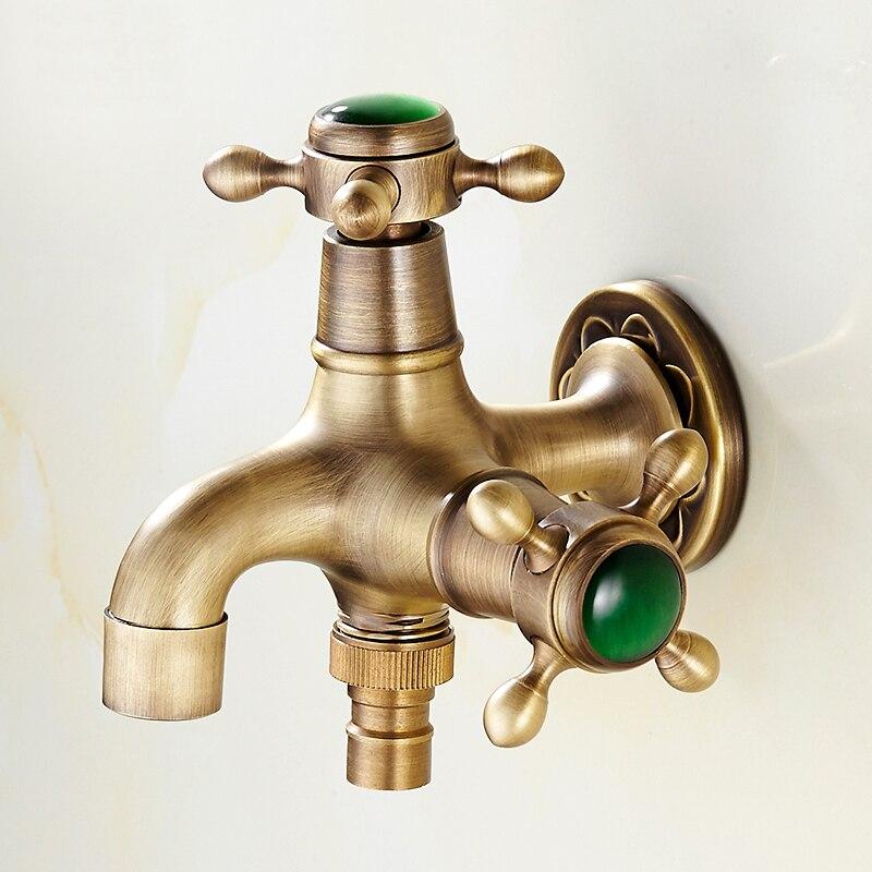 Robinet de jardin en laiton Antique et Jade de luxe robinet de machine à laver robinet de bibcocks en cuivre, robinet de toilette, robinet extérieur à Double usage
