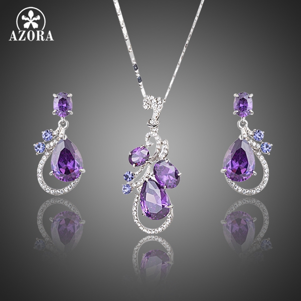 AZORA Terbitan Terbaru Purple Top grade Cubic Zirconia Water Drop Earrings dan Pendant Kalung Jewelry Set TG0173