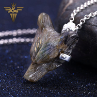 Support for custom Natural Labradorite Handcarved Wolf Head Sterling 925 Silver Pendant Men And Women Lucky Hang Ornaments