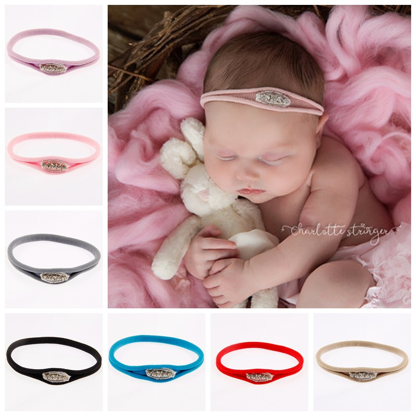 Yundfly Elastic Newborn Baby Rhinestone Nylon Headband Kids Infant Headwear Photography Props Gifts Hair Accessories