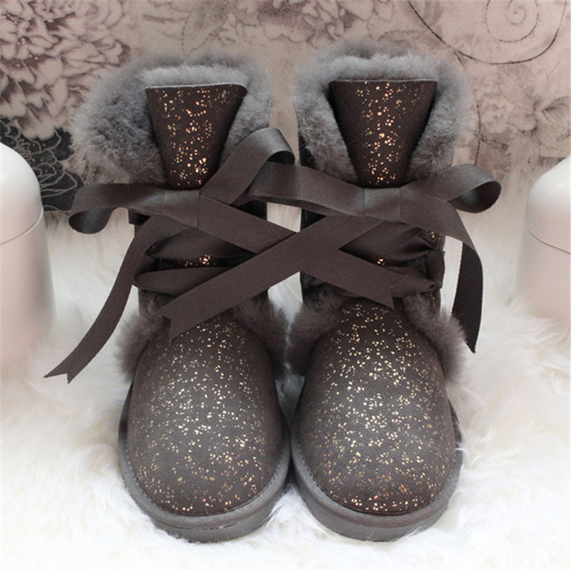 GRWG Real Wool Boots 2018 Genuine Sheepskin Woman Snow Boots Botas Mujer Winter Shoes Women's Boots Natural Fur Shoes Women цена