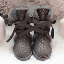 Women's Boots Sheepskin Winter Shoes Woman Natural-Fur Wool No Mujer Genuine