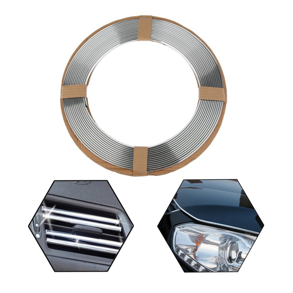 15m Car Truck Moulding Decoration Trim Strip Tape Roll Soft PVC Chrome Silver DIY Protective Sticker Car Styling Car Accesorries fashionable bat style 3d car decoration sticker silver