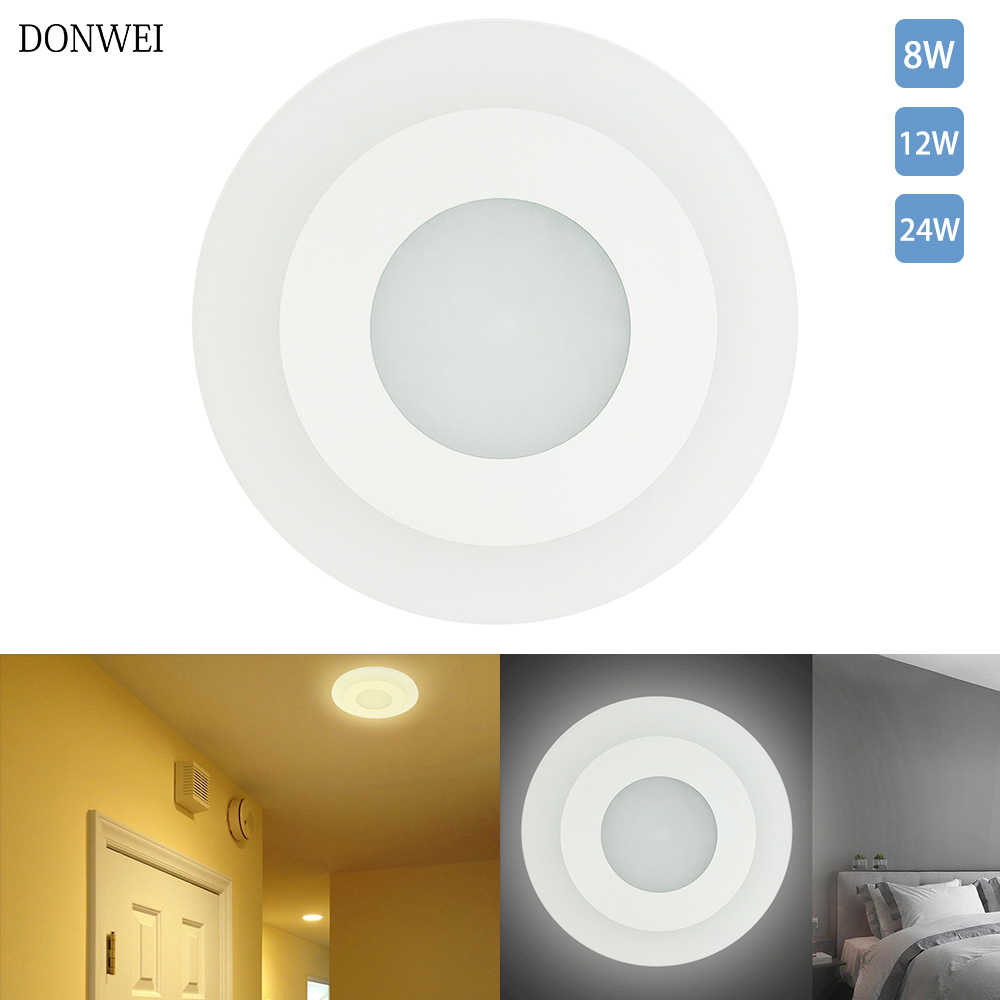 DONWEI Home Decoration 8W 12W 24W Round Ceiling Light Acrylic ceiling Lamp Panel Lights for Bedroom Living room Hallway Stairs