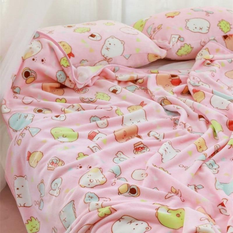 Blanket San-X Christmas-Gift Sumikko Gurashi-Corner Pillowcase Plush-Toys Birthday Cartoon