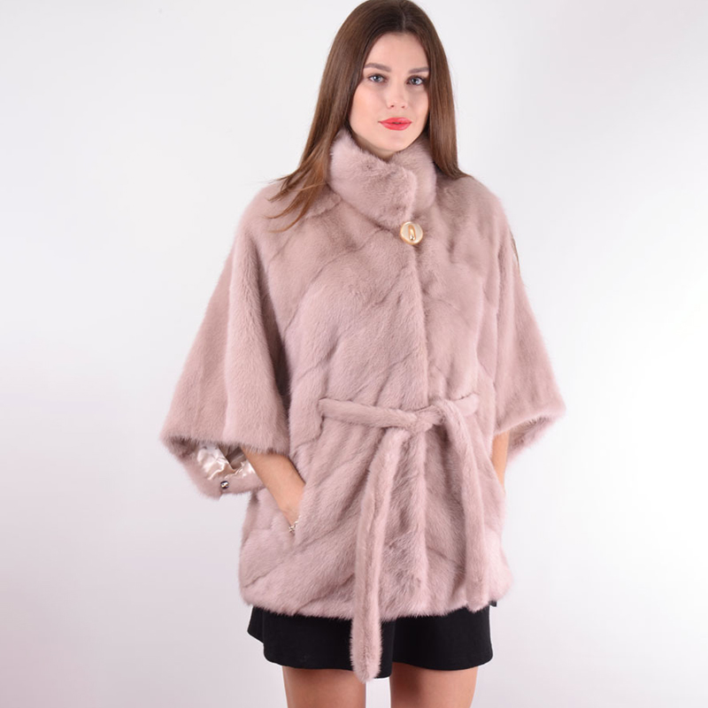 2019 BFFUR Real Mink Fur Coat For Women Half Sleeve Outfit With Belt Female Luxurious Real Mink Fur Coats Flesh Pink Jacket