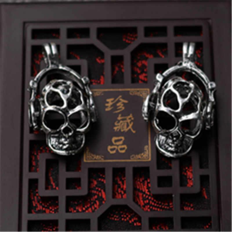 כסף עתיק WKOUD 6 יחידות האזנה למוסיקה ghost גולגולת סגולה שרשרת צמיד DIY תליוני סגסוגת תכשיטי היפ הופ A33