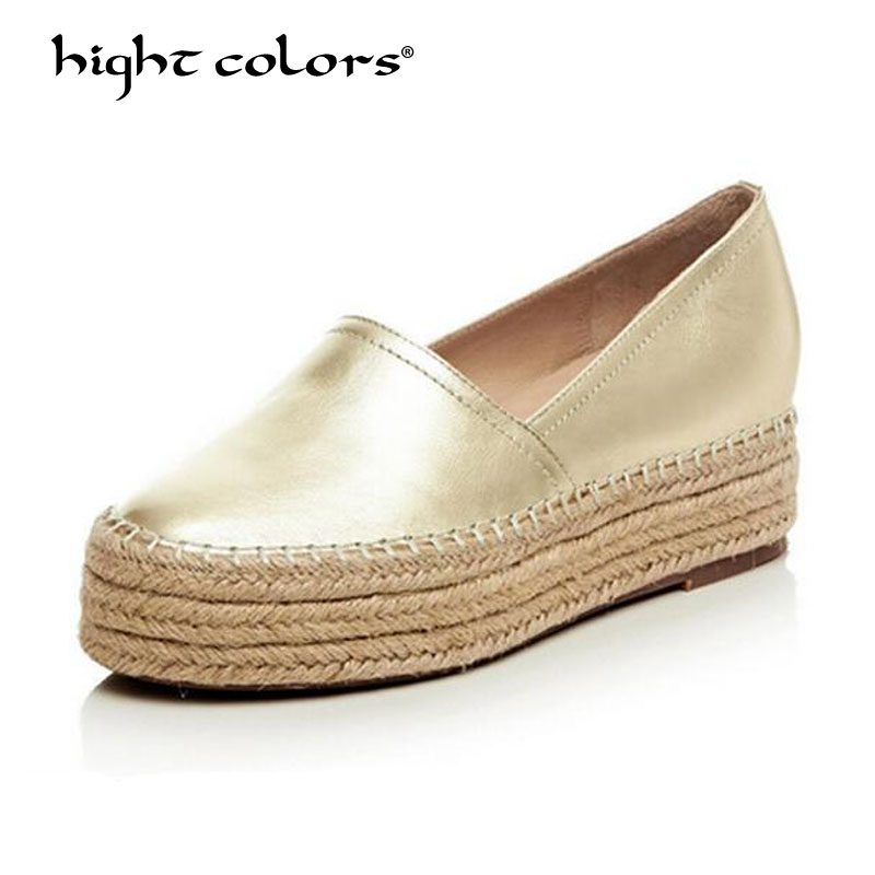 Women Casual Shoes Genuine Leather Flats Silver Gold Loafers Women s Slip on Female Creepes Fashion