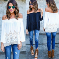 NEW 2016 Women Ladies Sexy Loose Chiffon Off Shoulder T-Shirt camisetas mujer Casual Long Sleeve Boho Tops tee shirt femme Z2