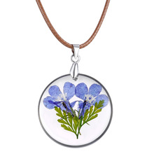 Hot Sale Natural Purple Dried Dry Flower Pendant Necklaces Rond Resin Pendant Necklaces Jewelry for Women with Brown Rope Chain