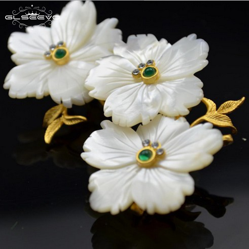 GLSEEVO Luxury Natural Mother-Of-Pearl Green Jade Flower Brooches For Women Wedding Party Gift Brooch Dual Use Jewelry GO0072 недорого