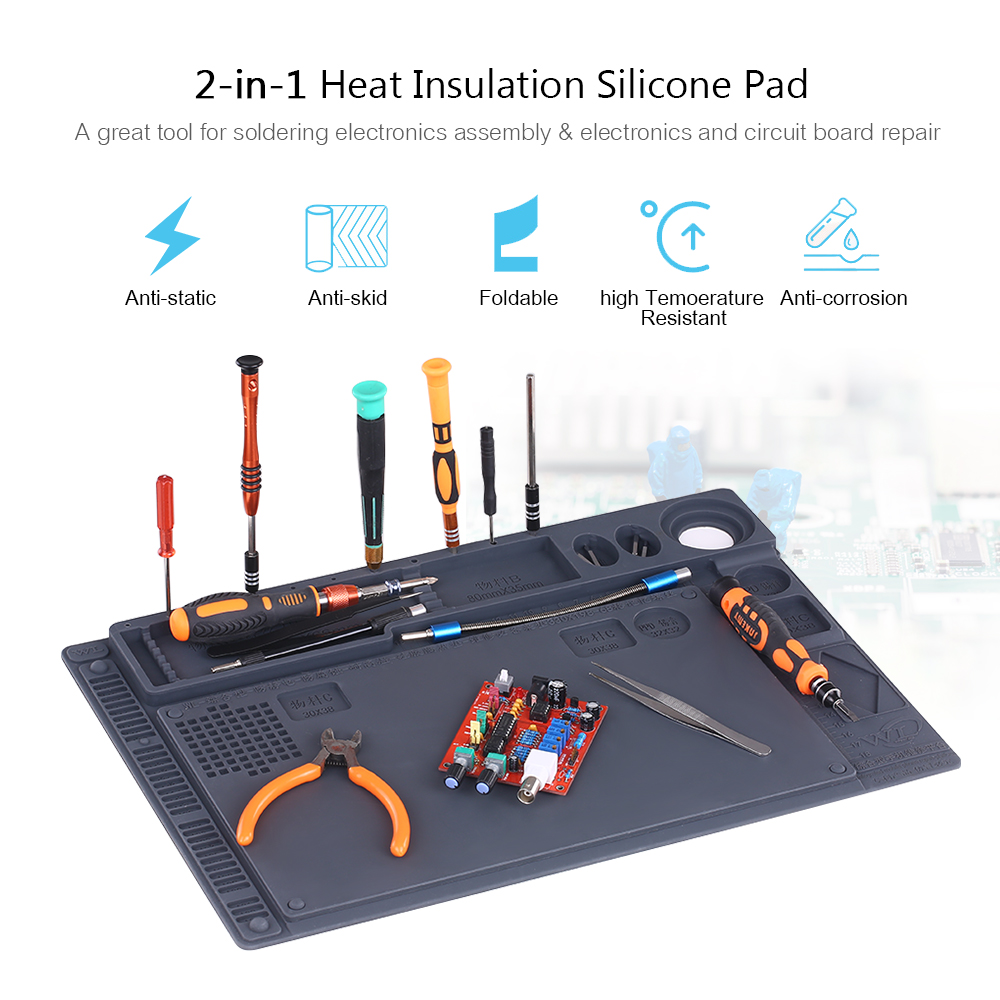 2-in-1 Heat Insulation Silicone Pad Desk Mat Maintenance Platform For BGA Soldering Repair Station With Magnetic Section 41x28cm 45 30cm heat insulation silicon pad repairing mat maintenance platform for bga soldering repair tool with magnetic section