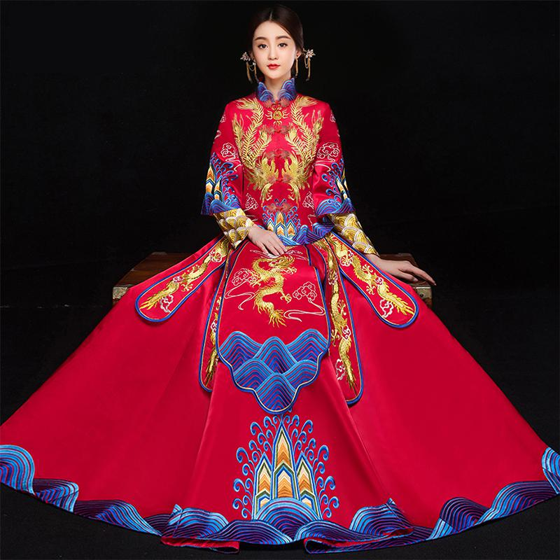Chinese National Wedding Dress RED Women Full Length Elegant Cheongsam Marriage Suit Dragon&Phoenix Vintage Bride Qipao S XXL