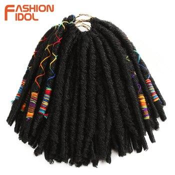 Mode idole 12 pouces 12 brins Faux Locs Crochet tresses cheveux synthétique tressage doux Crochet Extensions de cheveux bourgogne noir Fiber
