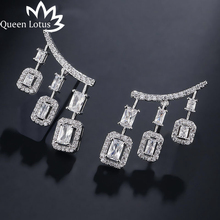 Queen Lotus New Arrival Trendy AAA Zircon Earring for Women Girls 925 Sterling Silver Needle Wedding Drop Earrings Jewlery