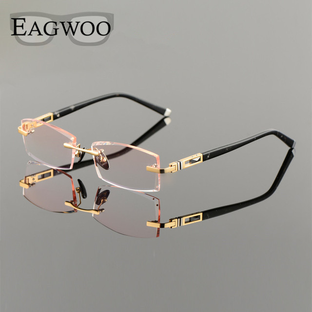 5fac1431d0 Titanium Alloy Eyeglasses Men Rimless Prescription Reading Myopia  Photochromic Crystal Diamond Glasses Frameless Spectacle258105
