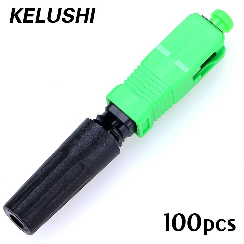 imágenes para Envío Gratis 100 UNIDS SC/APC conector de fibra óptica Ftth cubierto de alambre Incrustado KELUSHI conector de montaje rápido
