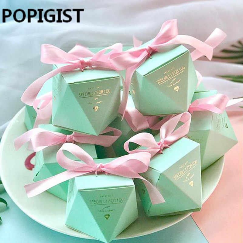 New Pink/Red/Bule Diamond Shape Baby Shower Candy Box Wedding Favors and Gifts Boxes Birthday Party Decoration for Guests