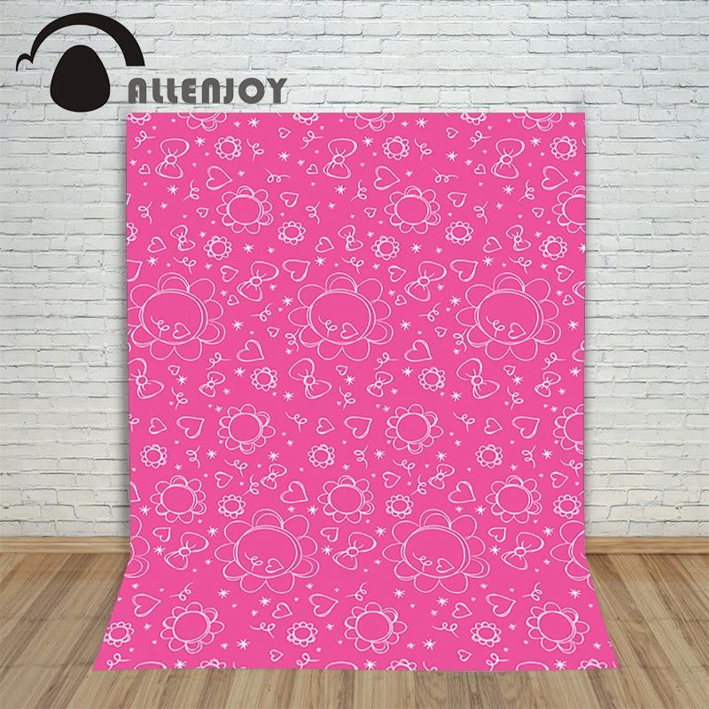 Allenjoy Background photography vinyl backdrop Cartoon Butterfly Heart Pink for a photo shoot photographic camera 8x10ft valentine s day photography pink love heart shape adult portrait backdrop d 7324
