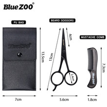 Blue ZOO New Portable Beard Stainless Steel Thumb Scissors Clippers Leather Bag Brush Set Beauty Shaping Tools(China)