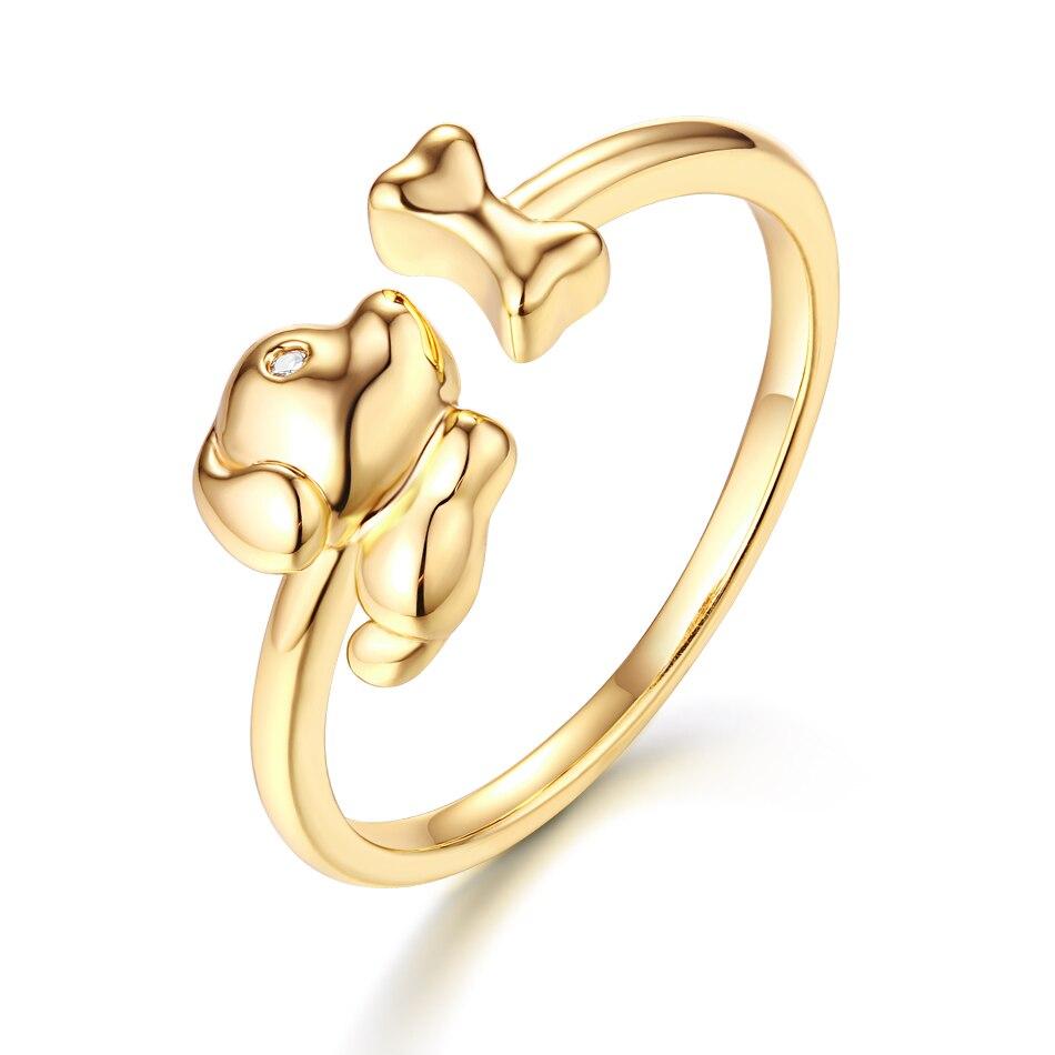 ALLNOEL Real Zircon Ring For Women Stainless Steel Open Design Bijoux En Argent Cute Dog Bone Gemstone Jewelry Wedding Gift  (2)