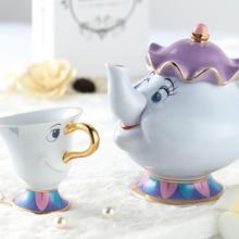 Cartoon Schönheit Und Das Biest Kaffeekanne Tee-Set Porzellan Kreative Keramik Wasserkocher Tasse La Bella Y La Bestia
