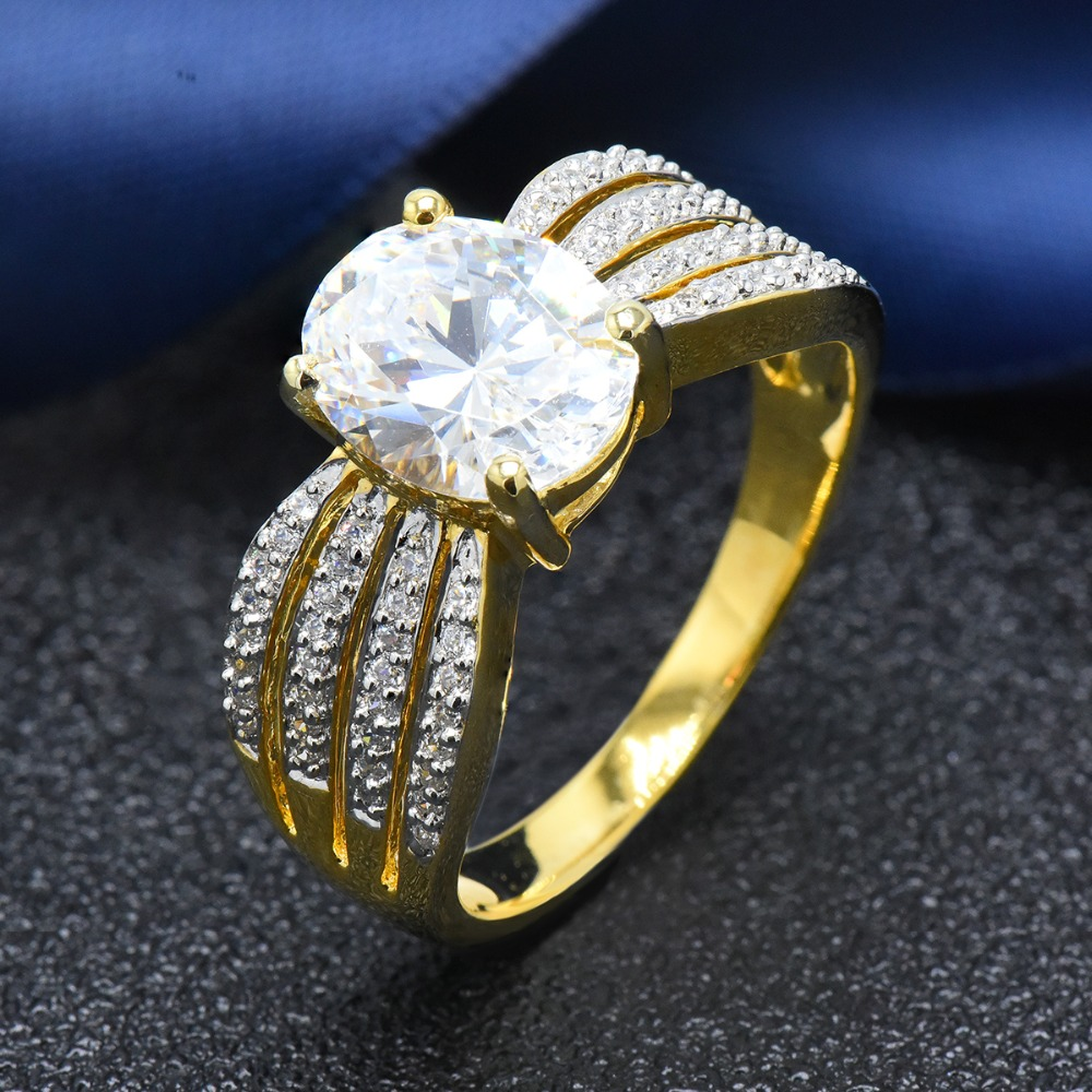 Hutang women s yellow gold wedding ring solid 925 sterling silver 5 33ct simulated diamond engagement