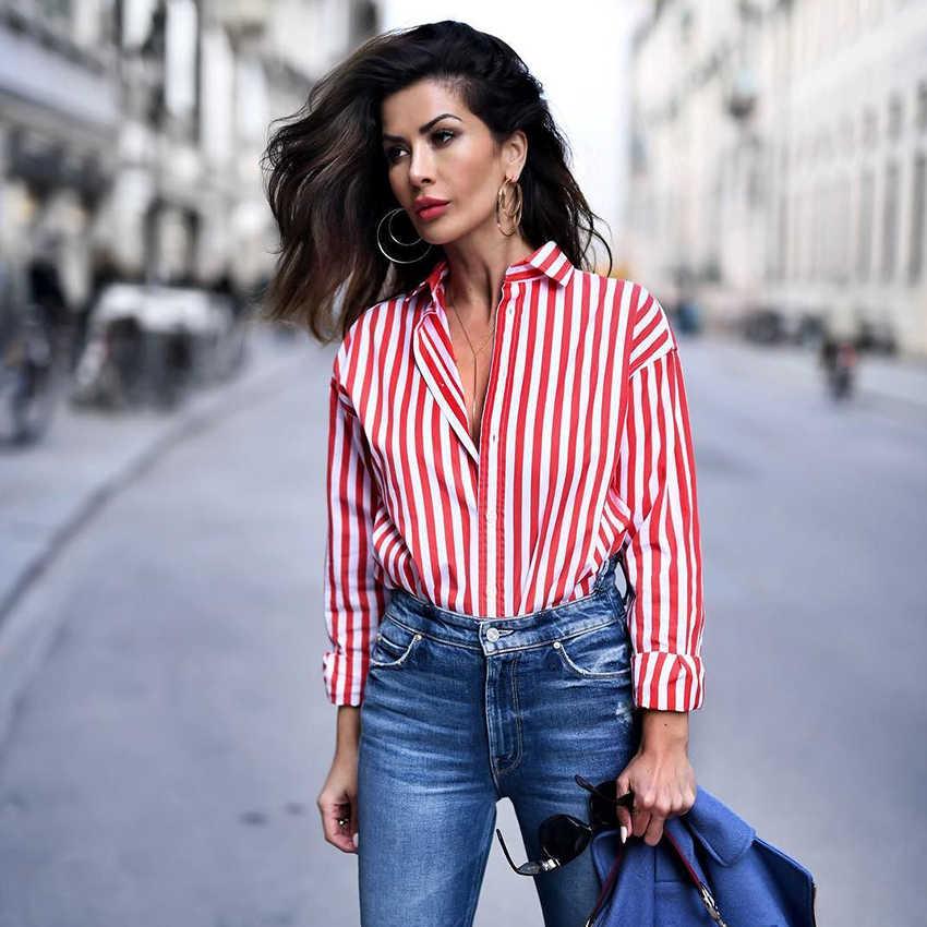 4ff32833388 НОВАЯ шикарная Офисная женская красная полосатая блузка с отложным  воротником на пуговицах уличная мода рубашки