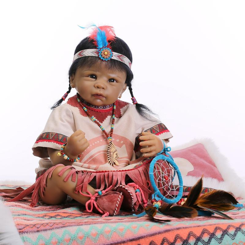 Nicery 22inch 55cm Reborn Baby Doll Indian Style Magnetic Soft Silicone Lifelike Girl Toy Gift for Child Christmas Dreamcatcher super soft frisbee ufo style silicone indoor outdoor toy for pet dog light green