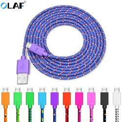 Олаф Нейлон Плетеный Micro USB кабель 1 м/2 м/3 м синхронизации данных USB зарядное устройство кабель для samsung HTC LG Huawei xiaomi телефона Android кабели