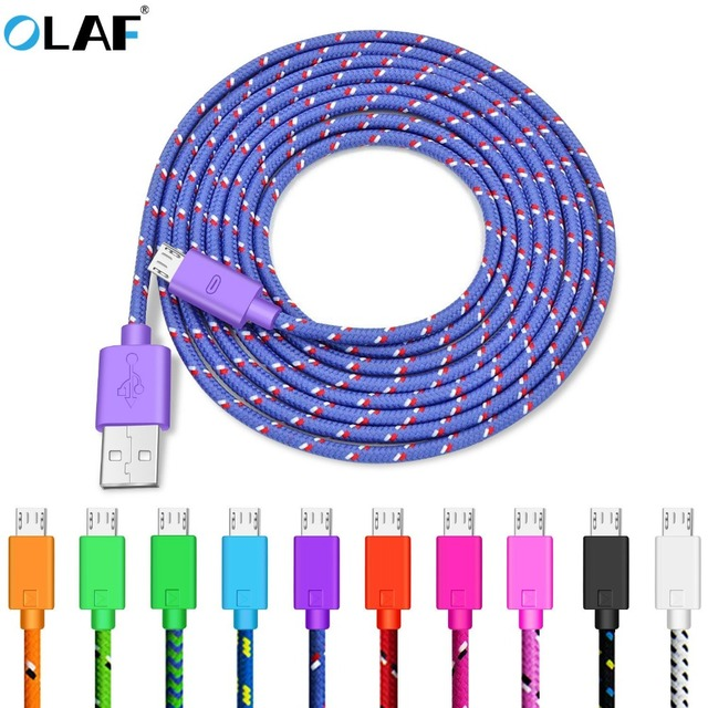 OLAF Nylon Braided Micro USB Cable 1m/2m/3m Data Sync USB Charger Cable For Samsung HTC LG huawei xiaomi Android Phone Cables