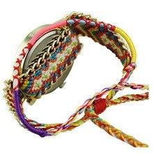 Girls Dreamcatcher Weave Bracelet Watches Blue+Pink