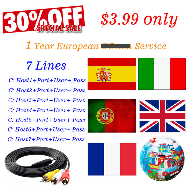 1 year European Clines 7 lines HDcam for Satellite Receiver DVB S2 support for TV receiver