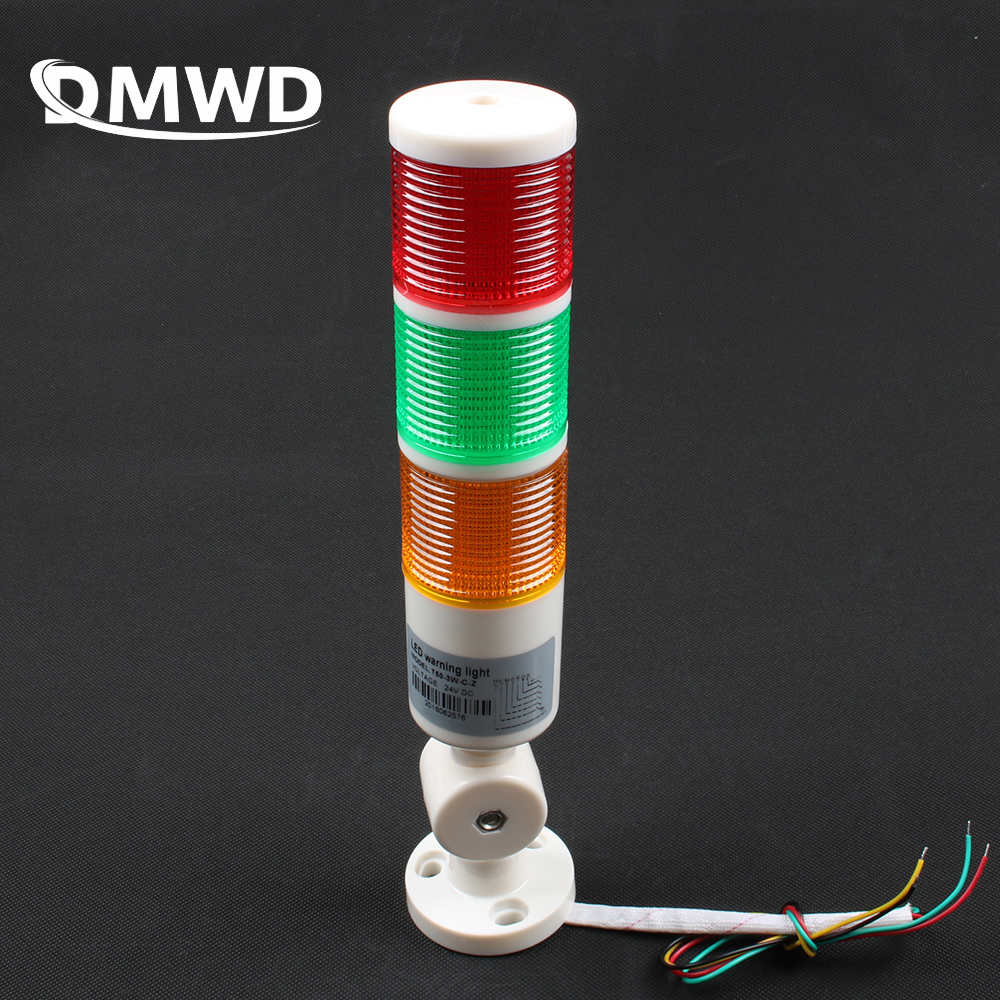 3 Colors Industrial Signal Tower Safety Stack Alarm Light Lamp LED Red Green Yellow Lamp LED Plastic Indoor 3 Layer With Base