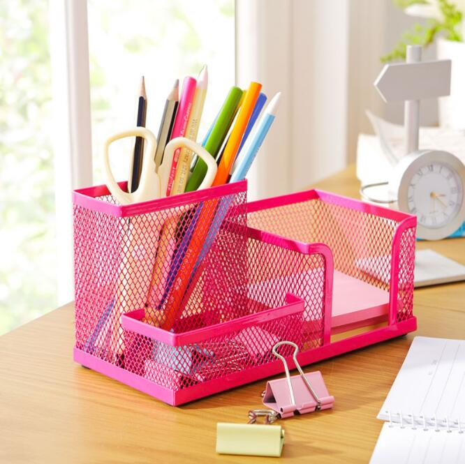 1pcs/set Multifunctional Metal Pen Holder Mesh Pencils Desk Desktop Storage Organizer Box Three Slots Home Office Stationery metal pen holder mesh desk organizer mesh pen holders storage box metal desk storage holder office home supplies iron pen holder