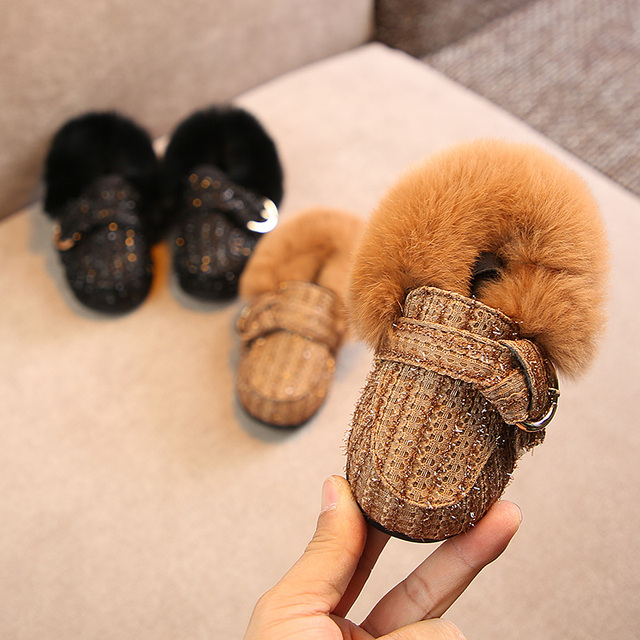 1-2-3 year old girls princess shoes kids fur 2018 winter Keep warm snow boots baby toddlers shoes Super soft and comfortable Girl's Shoes