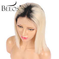 Beeos 1B/613 Full Lace Wigs Human Hair Brazilian Remy Hair 150% Blonde Bob Ombre Wig with Baby Hair Pre Plucked Natural Hairline