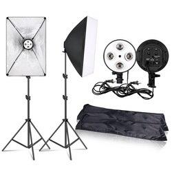 التصوير 50x70 سنتيمتر الإضاءة أربعة مصباح الفوتوغرافي Softbox كيت مع E27 قاعدة حامل لينة مربع كاميرا اكسسوارات للصور ستوديو مقاطع فيديو